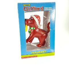 Clifford Big Red Dog w Christmas Stocking Ornament Figure Scho...