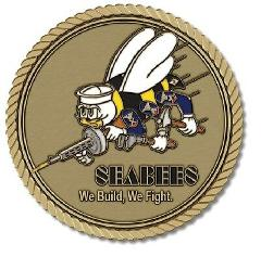 Seabees Medallion for Box Cremation Urn/Flag Case - 2 Inch Dia...