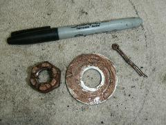 Left hand rear axle shaft nut 1993 Kawasaki Bayou 400 4x4 KLF4...