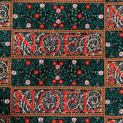 Cotton Christmas Fabric Noel 1 1/2 Yards Red Green Vintage
