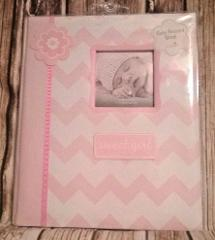 Lil Peach Baby Girl Pink Chevron Record Memory Keepsake Book