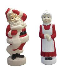 Mr & Mrs Santa Claus Outdoor Light Up Yard Blow Mold Christmas...