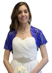 Royal Blue Lace Bolero, Lace Shrug, Wedding Shawl (L, Royal Blue)