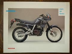 89 HONDA NX650 NX250 NX125 NOS OEM DEALER'S SALES SHEET BROCHU...
