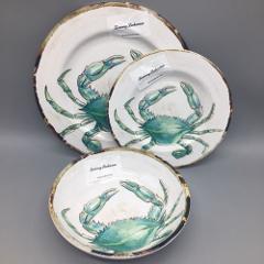 18pc Tommy Bahama Melamine 6 Plate Bowl Set Crab Ocean Beach T...