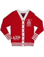 Delta Sigma Theta Sorority 1913 RED WHITE LIGHT CARDIGAN SWEAT...