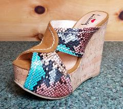 Luichiny E Lectric Teal Tan Snake Cork Covered Wedge Sandal Sh...