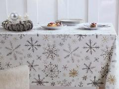 Snowflake Tablecloth Shimmer Christmas Silver Gold Napkin 60x8...