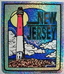 New Jersey State Vinyl Reflective Souvenir Decal with Glitter