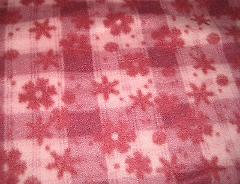 Pink Red Flowers Fleece Fabric Material SOFT Sewing 3/4 yard x...