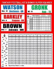 2018 Fantasy Football Draft Board Kit XL with BONUS Super Bowl...