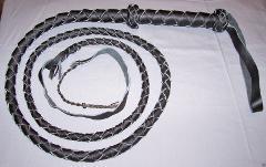 8 FT LONG 4 Plait BLACK Real Leather BULL WHIPS Bullwhip w Ny...