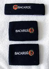 NEW BACARDI RUM BAT LOGO HEADBAND AND WRISTBANDS BLACK TERRY C...