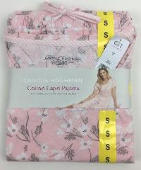 NEW Women's CAROLE HOCHMAN Cotton Capri 2 Piece Pajama Short S...