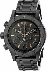 Nixon Woman's 38-20 Chrono All Black/Rose Gold 38mm Watch A404...