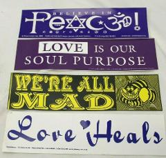 4 Bumper Stickers We're All Mad Peace Love Heals