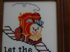 New Train Framed Picture Handmade Finished Cross Stitch - chil...