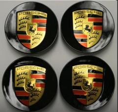 Black Porsche Wheel Centre Hub Caps x4 76mm for 911, C2S, C4S,...