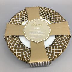 x4 Ciroa Luxe Lattice Metallic Gold Appetizer Dessert Plate Se...