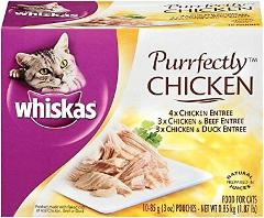 WHISKAS PURRFECTLY Chicken Variety Pack Wet Cat Food 3 Ounces ...