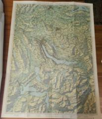 Vintage 1950s Linen Backed Folding Map Schulkarte des Kantons ...