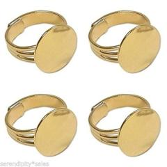 50 GOLD PLATED Adjustable Finger RING BLANKS ~ Flat 16mm pad ~...