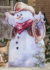 Little Cowboy Snowman Standee Outdoor Stand Up Decoration Life...