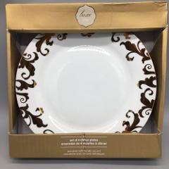 x4 Ciroa Luxe Fiori Scroll Metallic Gold Swirl Dinner Plate Se...