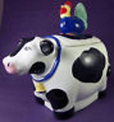Rooster & Cow Cookie Jar Biscuit Coco Dowley Colorful Ceramic ...