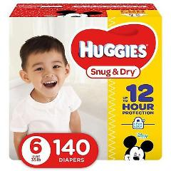 HUGGIES Snug & Dry Diapers, Size 6, 140 Count, ECONOMY PLUS Pa...