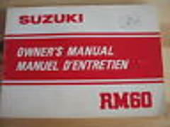 1982 82 RM60 RM 60 SUZUKI NOS OWNER'S MANUAL ENGLISH USDM FREN...