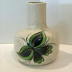 Vintage Handcrafted Hand Painted Ceramic Vase Buttetflies 1979...