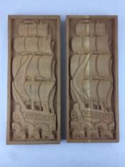 Set of 2 Wood Hand Carved Ship Wall Decor 17