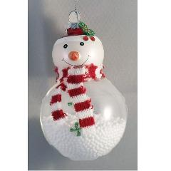 Glass Snowman with Filling Holiday Hanging Ornament Hallmark C...