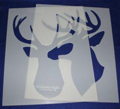 2 Piece Buck-Deer Head Stencils F/S-Mylar 14 Mil Lg - Painting...