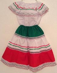 Colored-Mexican Elastic GIRL Dress Skirt & Blouse for any Mex...