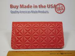 Bay State Exclusive Red Print Genuine Leather Checkbook Cover-...