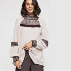 FREE PEOPLE Snow Day Thermal Tee Top Dusty Mauve Small S $128 ...