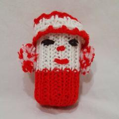Vintage Rattle Christmas Clown Crochet Red White 4
