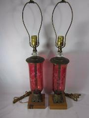 Vintage Etched Red Glass Table Lamp Pair