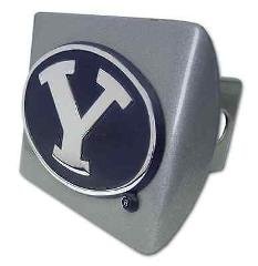 Brigham Young Navy Blue Emblem on Brushed Hitch Cover