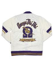 OMEGA PSI PHI FRATERNITY WOOL CARDIGAN SWEATER Q-DOG PURPLE G...