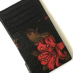 Coach Zip Credit Card Case F29270 Hawaiian Print Floral Black Red