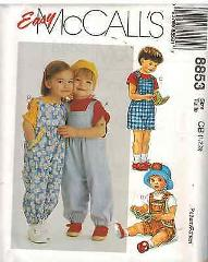 8853 UNCUT Vintage McCalls SEWING Pattern Toddler Overalls W/ ...