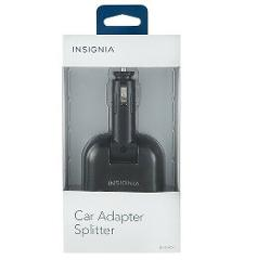 Insignia - Vehicle Power Adapter Splitter - Black Model: NS-DPADC