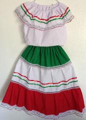 Lg Colored-Mexican Elastic Dress Skirt & Blouse for any Mexic...