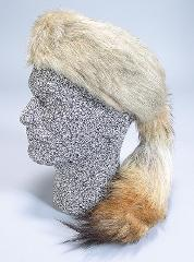 Daniel Boone Fox Fur Hat with Real Coyote Tail Size XL