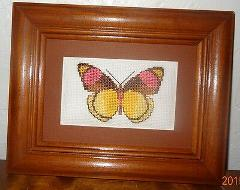 New Butterfly Framed Picture Finished Cross Stitch Handmade B...