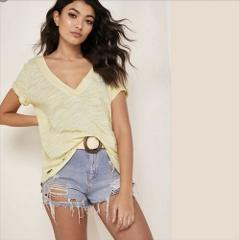 Free People Sundance Tee Ripped Holes Edge V-Neck Yellow Small...