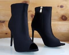 So Me Bleu Black High Heels Satin Peep Toe Ankle Boot 6.5-11